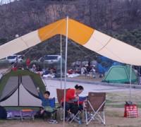 텐트 및 타프 설치후 밥 먹고나서..
